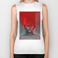 Red Head Woman Biker Tank
