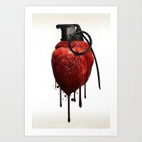 Heart Grenade Art Print