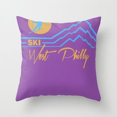Ski West Philly Throw Pillow