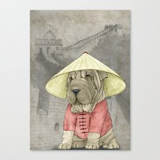 Shar Pei On The Great Wa… Canvas Print