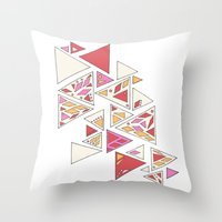 Geometric mosaic triangle pattern - red and pink Throw Pillow