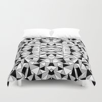 Ab Lines Tile with Black Blocks Duvet Cover