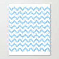 Canvas Print featuring funky chevron blue pattern by ravynka