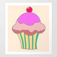 Art Print featuring Cupcake by Laura Cartwright