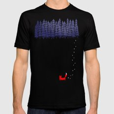 Alone in the forest Black SMALL Mens Fitted Tee