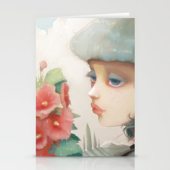 Pensees et roses tremieres Stationery Card