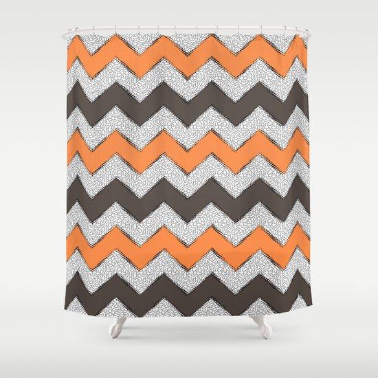 Gray And Orange Shower Curtain. Gray and Orange Stripe Kids ...