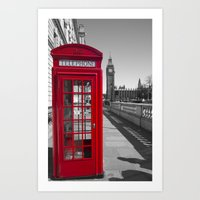 Big Ben and Red telephone box Art Print