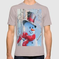Snowman In The Woods Mens Fitted Tee Cinder SMALL