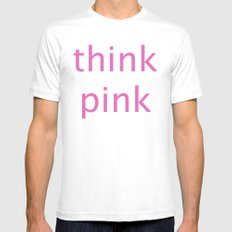 think pink SMALL White Mens Fitted Tee