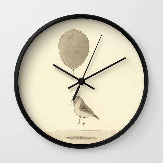 bird with a balloon Wall Clock