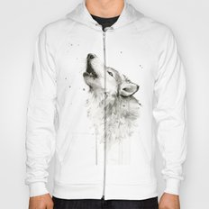 Wolf Howling Watercolor Wildlife Painting Hoody