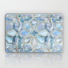 Geometric Gilded Stone Tiles in Soft Blues Laptop & iPad Skin