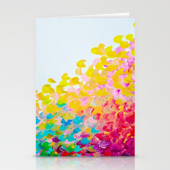 CREATION IN COLOR - Vibrant Bright Bold Colorful Abstract Painting Cheerful Fun Ocean Autumn Waves Stationery Card