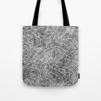 Grey And White Doodles Tote Bag