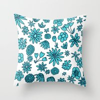 Blue Flowers On White Throw Pillow
