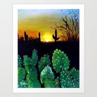Landscape Painting - Desert Sunset Art Print