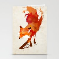 blue Stationery Cards featuring Vulpes vulpes by Robert Farkas