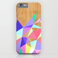 iPhone Cases featuring Wooden Geo Pastel by Jenny Mhairi