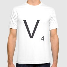 Scrabble V White Mens Fitted Tee SMALL