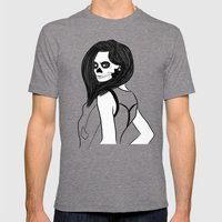 Lady Skull Garland Mens Fitted Tee Tri-Grey SMALL