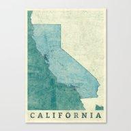 California Map Blue Vint… Canvas Print