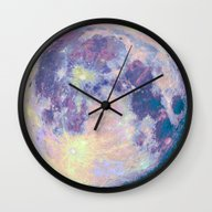 Wall Clock featuring Moon by Marta Olga Klara
