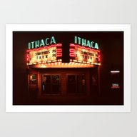 Art Print featuring Night Lights Ithaca Thea… by David Hohmann