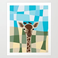 Wild Giraffe Baby on the grassland Art Print