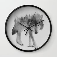 Wolf In The Woods (black… Wall Clock
