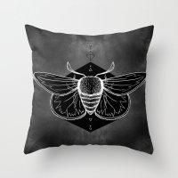 Moth Vignette Throw Pillow