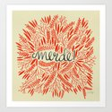 Pardon My French – Red on Cream Art Print