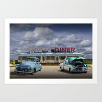 Classic Rosie's Diner Wi… Art Print