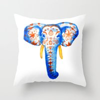 Elephant Watercolor Print Throw Pillow