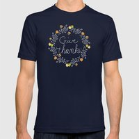Give Thanks - Autumn Pla… Mens Fitted Tee Navy SMALL