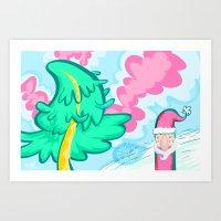 Santa + Tree Art Print