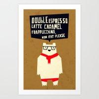 Yeti wants Coffee! Art Print
