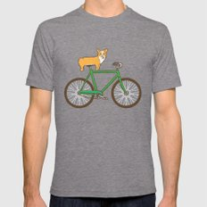 Corgi On A Bike Mens Fitted Tee Tri-Grey SMALL