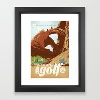 Galactic Golf - Retro travel poster Framed Art Print