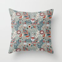 Deep Indigos & Gray Garden Hearts Throw Pillow