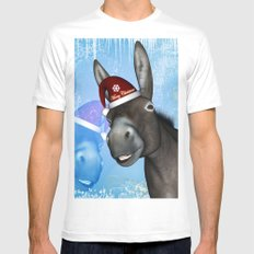 Funny christmas donkey SMALL Mens Fitted Tee White