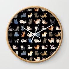 CATS on black Wall Clock