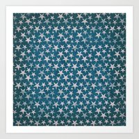 White stars on grunge textured blue background Art Print