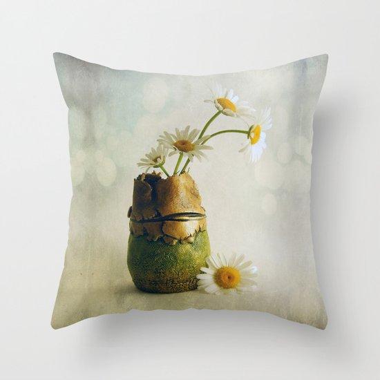 Daisies in a Handmade Vase Susan Weller Throw Pillow