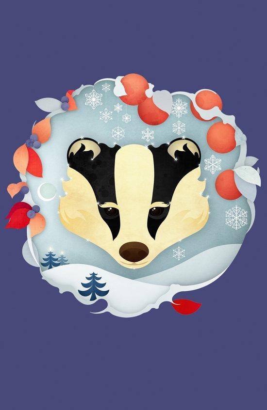 Snowy Badger Art Print