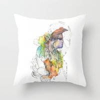 Abstract Portrait Illustration Watercolor Painting  Throw Pillow