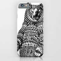 iPhone Cases featuring Ornate Grizzly Bear by BIOWORKZ