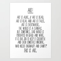 Art is alive and art is dead. Art Print