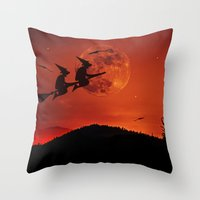 Two witches, one broom Throw Pillow