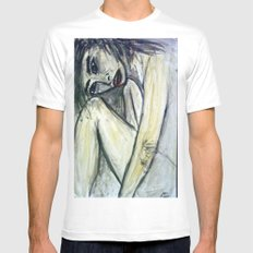 NUDE IN DEEP THOUGHTS White Mens Fitted Tee SMALL